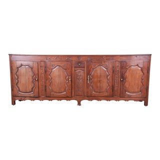 18th Century Country French Carved Walnut Long Sideboard For Sale