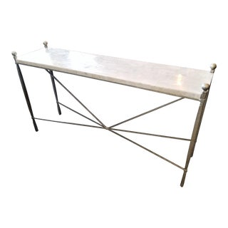 Bernhardt Clarion Silver Frame & Marble Top Console For Sale