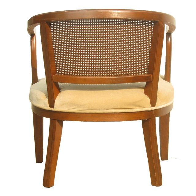Mid-Century Modern Mid-Century Caned Barrel Chair For Sale - Image 3 of 6
