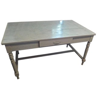 19th Century French Green Painted Pinewood Farm Table For Sale