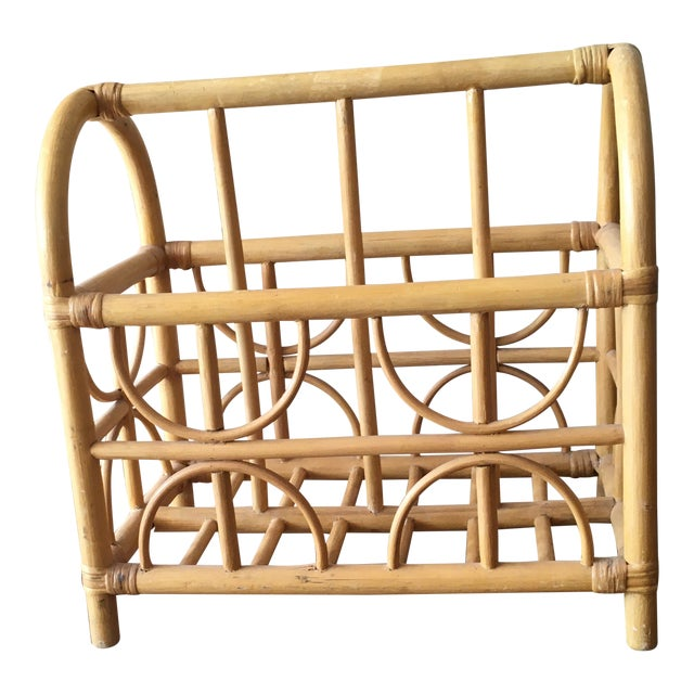 Vintage Bamboo / Rattan Bentwood Divided Magazine Holder For Sale