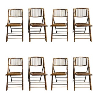 1960s, Set of 8 Bamboo Folding Chairs For Sale