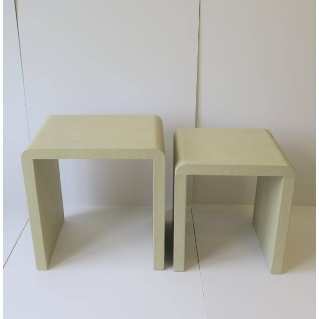 Off-white Shagreen-Esque Nesting Tables With Waterfall Edge For Sale - Image 8 of 12