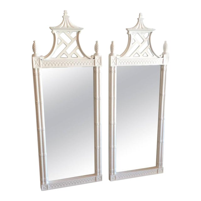 Vintage Chinese Chippendale Pagoda Faux Bamboo Wall Mirrors - A Pair - Image 1 of 11