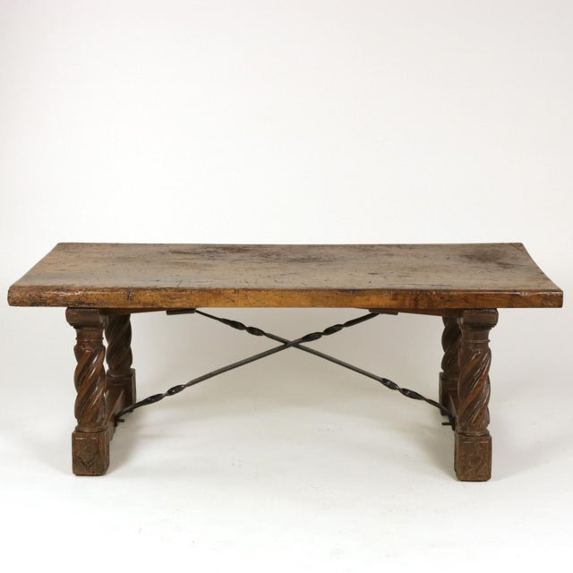 Italian Walnut Low Table with Carved Barley Twist Legs and Twisted Iron Cross Stretchers, Circa 1800 For Sale - Image 4 of 13
