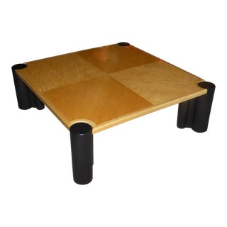 Large Art Deco Modern Jumbo Style Burl Maple and Ebonized Wood Coffee Table For Sale