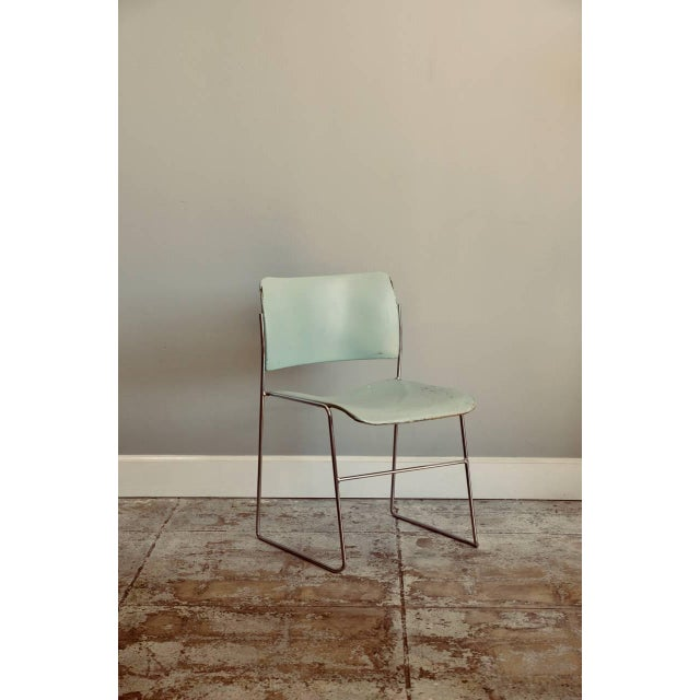 Modern Set of Six Teal and Chrome David Rowland 40/4 Stacking Chairs For Sale - Image 3 of 7