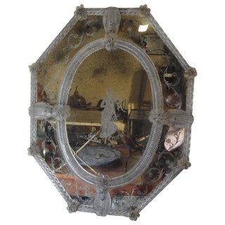 1920's Antique Venetian Octagonal Etched Glass Mirror For Sale