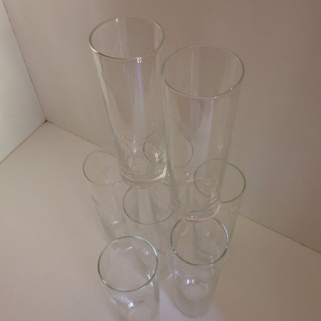 "Noritaki Sasaki Etched Crystal"" Wheat"" Tom Collins Glasses - Set of 8 For Sale - Image 9 of 11"