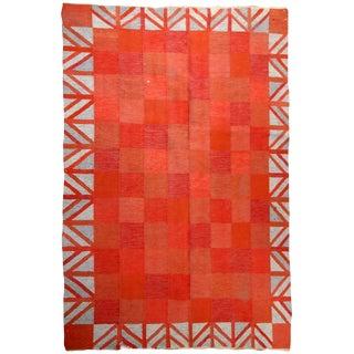 1950s handmade vintage Scandinavian flat-weave kilim 4.7' x 6.5' For Sale