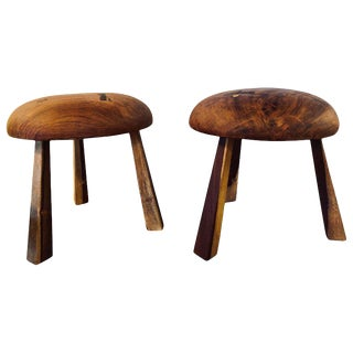 Pair of Small Wood Mushroom Stools in the Manner of Nakashima For Sale