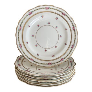 """Antique English Rose Cauldon China 8.6"""" Luncheon Plates- Set of 6 For Sale"""