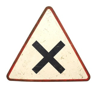 20th Century Industrial White Metal Street Sign X