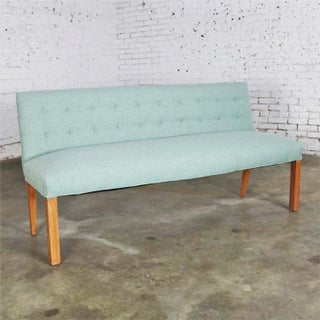 Mid Century Modern Teal & Blonde Armless Bench W/ Back Style Tommi Parzinger Preview