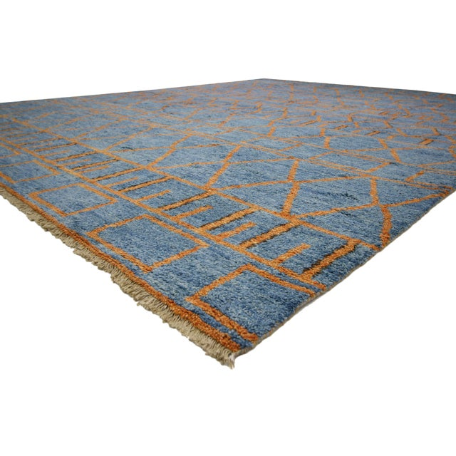 Early 21st Century Orange and Blue Moroccan Style Rug With Modern Design, 10'05 X 13'00 For Sale - Image 5 of 10