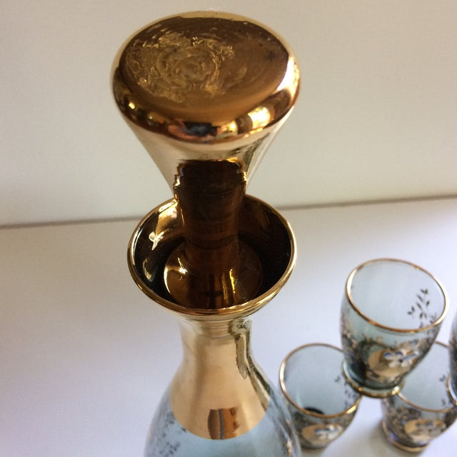 Crystal Vintage Gold & Blue Bohemian Decanter and 6 Glasses Set For Sale - Image 7 of 11