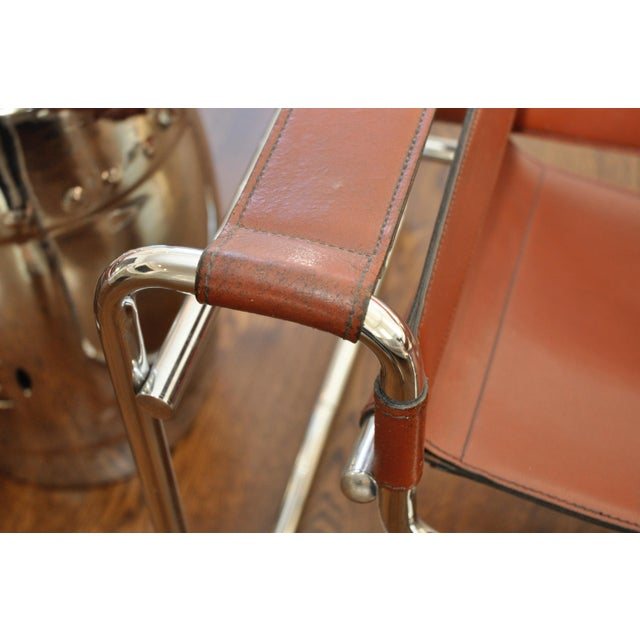 Reproduction Mid-Century Wassily Leather & Chrome Chairs - Pair - Image 5 of 9