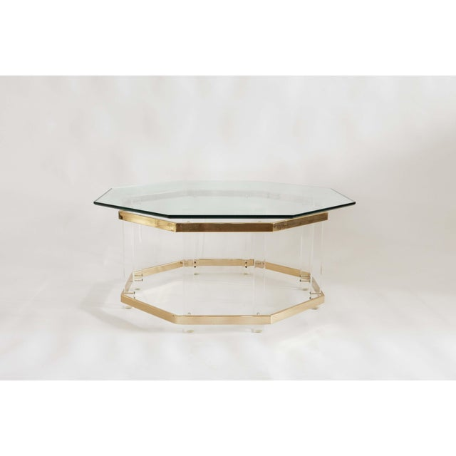 1960s Art Deco Charles Hollis Jones Brass and Lucite Octagonal Coffee Table For Sale - Image 10 of 10
