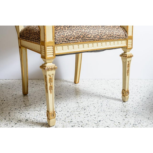 Metal Louis XVI Leopard Upholstered Bergere Chairs - a Pair For Sale - Image 7 of 10