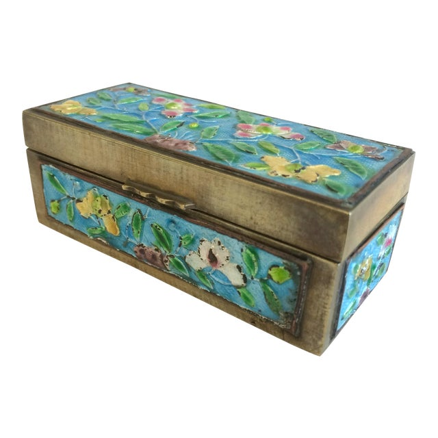 Vintage Chinese Enameled Brass Trinket Box - Image 1 of 7