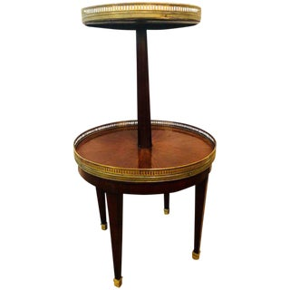 French Mahogany Marble-Top Dumbwaiter / Two-Tier Side Table With Brass Gallery For Sale