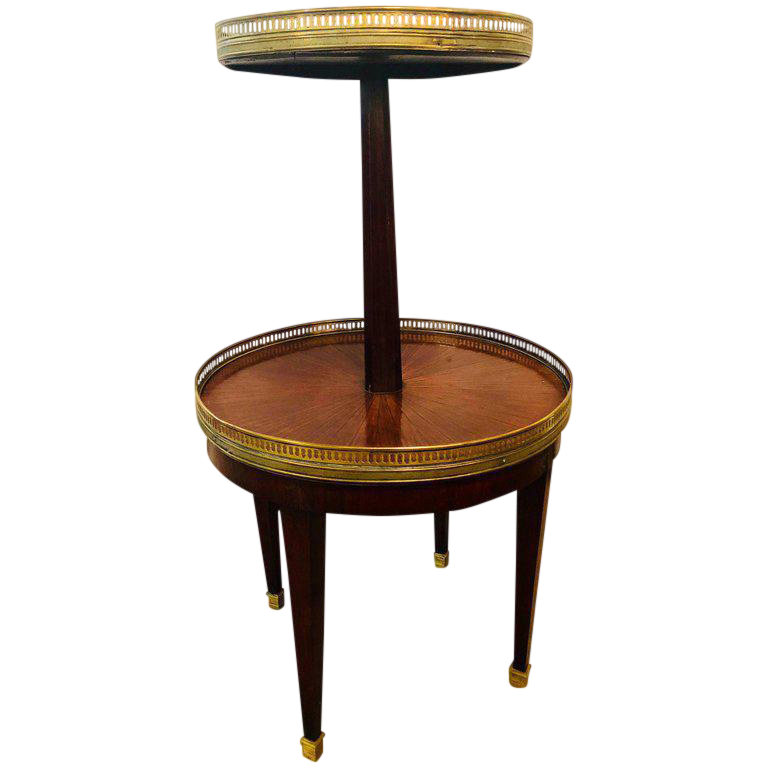 French Mahogany Marble Top Dumbwaiter / Two Tier Side Table With Brass  Gallery For