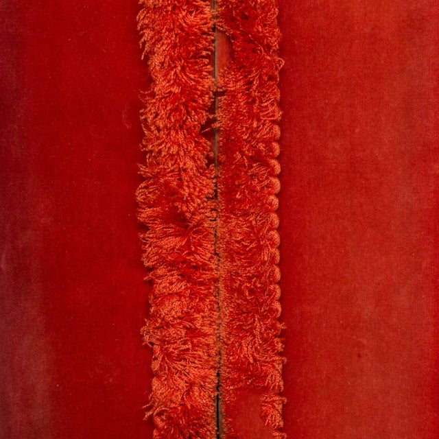 Two Pairs of Paprika Color Velvet Drapes For Sale - Image 4 of 11