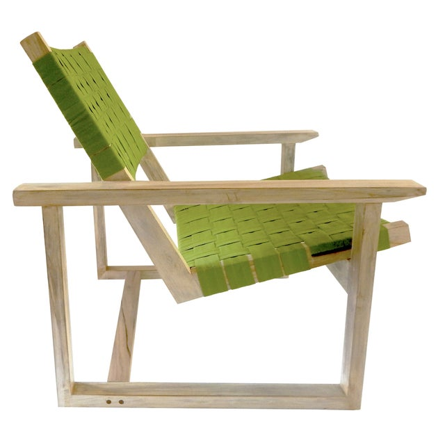 Green Sunbrella Leon Teak Lounge Chair - Image 2 of 3