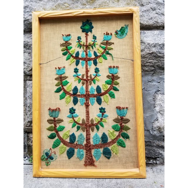 Mid-Century Modern Crewel Embroidered Wall Hanging For Sale - Image 11 of 11