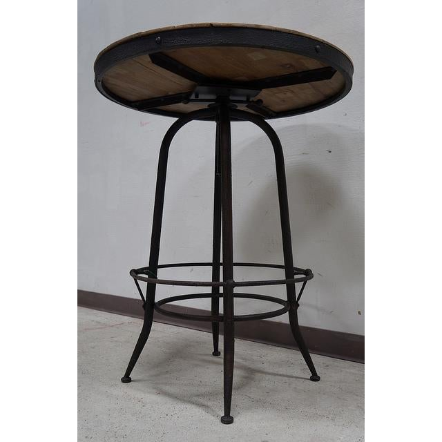Modern Industrial Reclaimed Wood Iron Base Round Table - Image 3 of 4