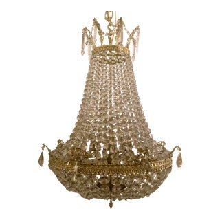 Antique French Bronze and Crystal Chandelier, Circa 1910. For Sale