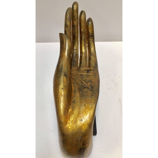 Giltwood Buddha Hand on Stand, Thailand For Sale - Image 12 of 13