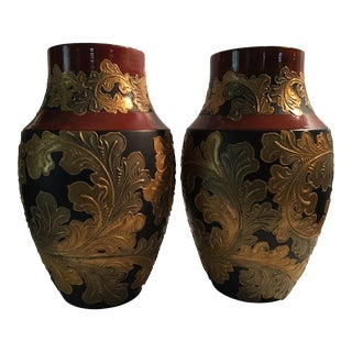 1885 Wedgwood Auro Basalt Vases - a Pair For Sale