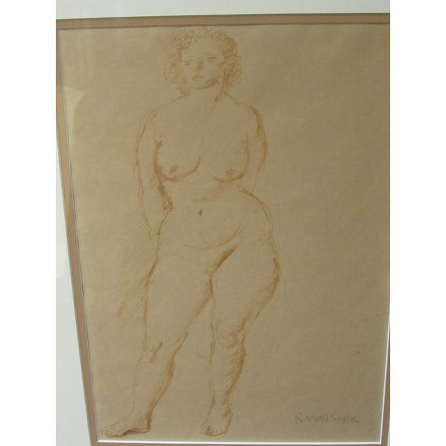"""White """"Standing Nude"""" Hand Wash Drawing by Raphael Soyer For Sale - Image 8 of 13"""