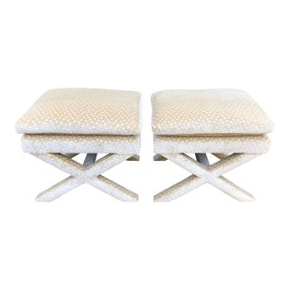Pair of Nancy Corzine Silk Velvet Designer X Bench Ottomans For Sale