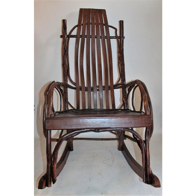 Amish Bent Wood Adults and Child's Rocking Chairs - Set of 2 For Sale - Image 9 of 12