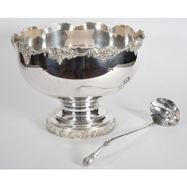 Vintage English Georgian Style Silver Plated Copper Punch Bowl Set - 15 Pc. For Sale - Image 9 of 13
