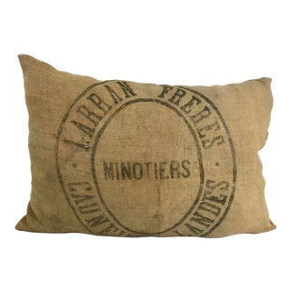French Vintage Grain Sack Pillow For Sale