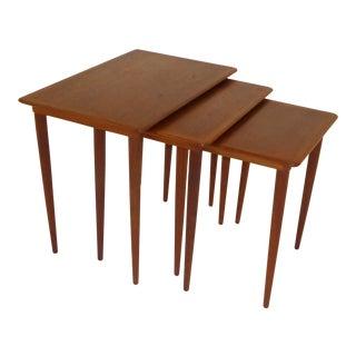 Danish Mid-Century Modern Stacking Nesting Tables in Teak - Set of 3 1950s