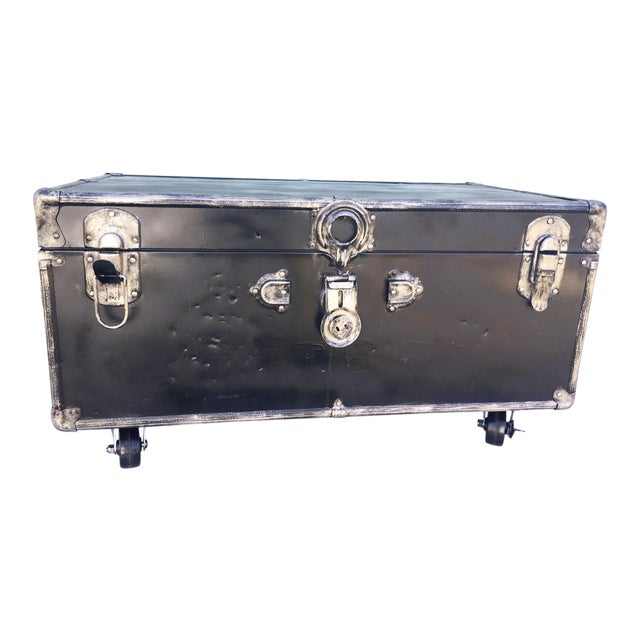 Upcycled WWII Trunk on Wheels For Sale