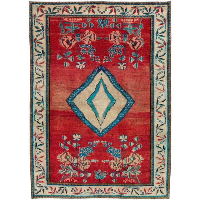 "Vintage Persian Mahal Rug - Size: 3' 8"" X 5' 1"" For Sale"