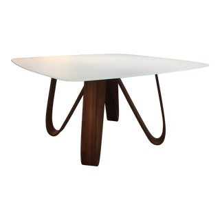 Contemporary Clear Etched Glass and Walnut Dining Table For Sale