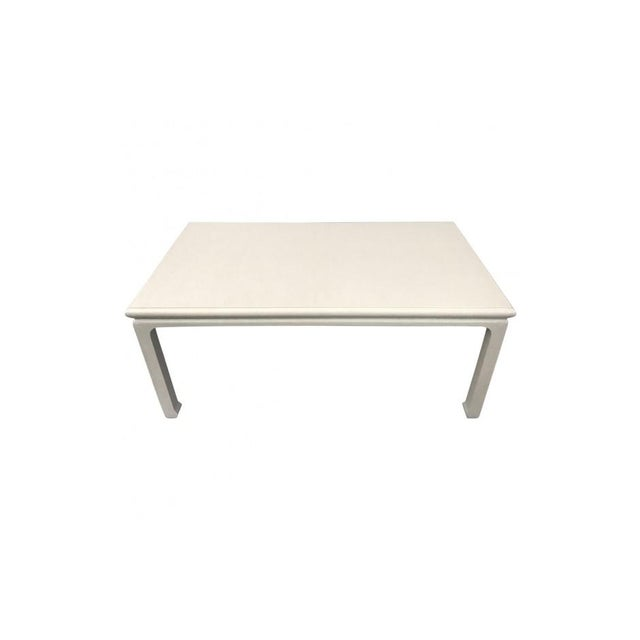 Chinese-Style Taupe Lacquered Grasscloth Coffee Table For Sale - Image 4 of 6