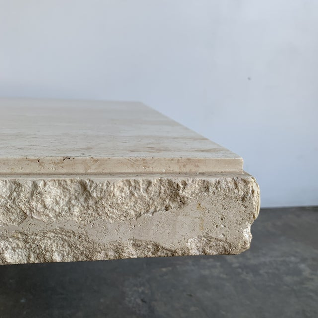 Stone Textured Edge Travertine Coffee Table For Sale - Image 7 of 13