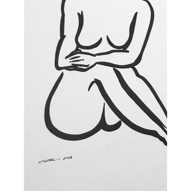 """Contemporary Figurative Original Pen & Ink Drawing """"Lady Like""""Christy Almond For Sale - Image 4 of 7"""
