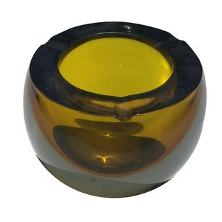 Seguso Murano Italian Amber Art Glass Ashtray