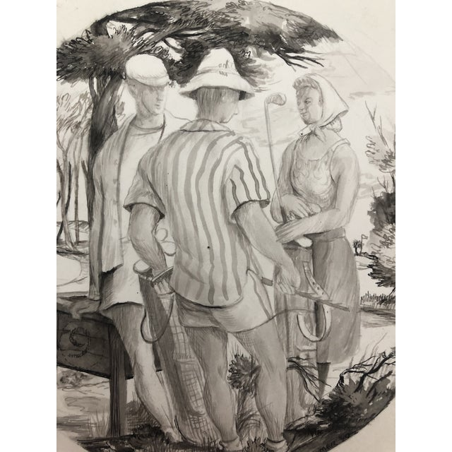 1940s 1940 9th Tee Golf Painting by William Palmer For Sale - Image 5 of 6