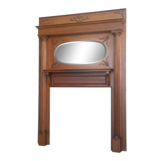 Victorian American Tiger Oak Fireplace Mantel Fluted Column Oval Mirror 1890's For Sale