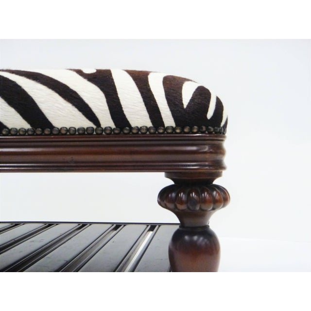 Vintage Zebra Hide Ottoman, Coffee or Cocktail Table For Sale - Image 4 of 8