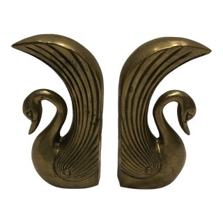 Brass Swan Bookends - a Pair For Sale